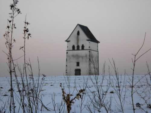 Water Tower Snow Merscheid Luxembourg