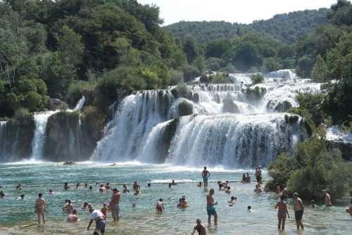 Waterfall Krka Visitors Trip Landscape