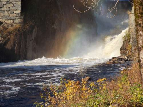 Waterfall Rainbow Norway Natural Water