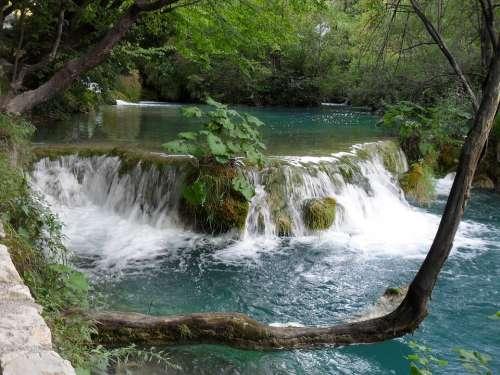 Waterfall Plitvice Lakes Level Nature Lake Croatia