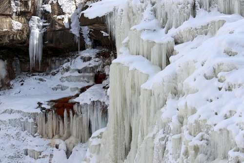 Waterfall Frozen Ice Water Snow Cold Winter
