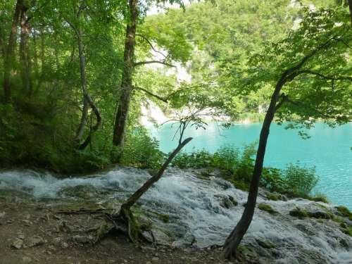 Waterfall Creek Lake Azure Clean Water Water