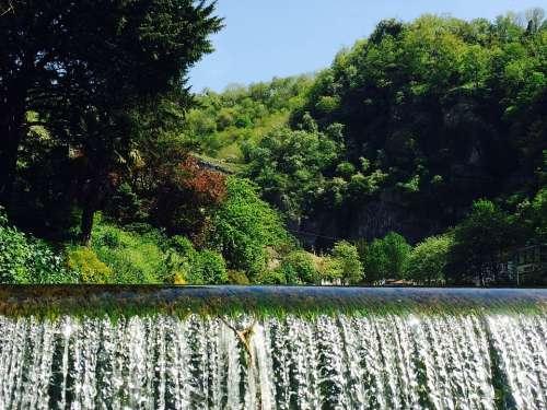 Waterfall Splash Water Nature Blue Sky Scenic