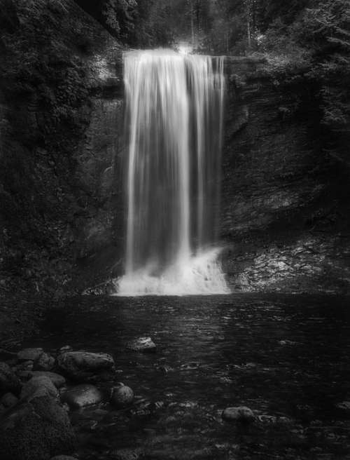 Waterfall Monochrome Black And White Long Exposure