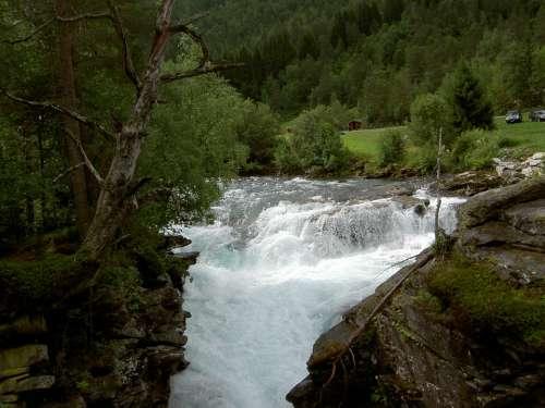 Waterfall Water Cascade Landscape Falls Nature