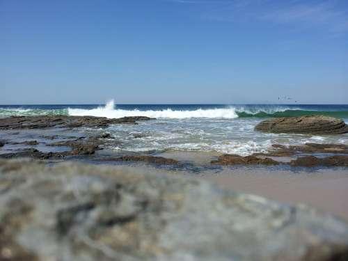 Wave Ocean Beach Rock Distant