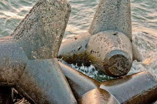 Wave Breakers Tetrapods Shore Coast Barrier