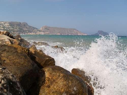 Waves Breakwater Sea Altea Nature Costa Alicante