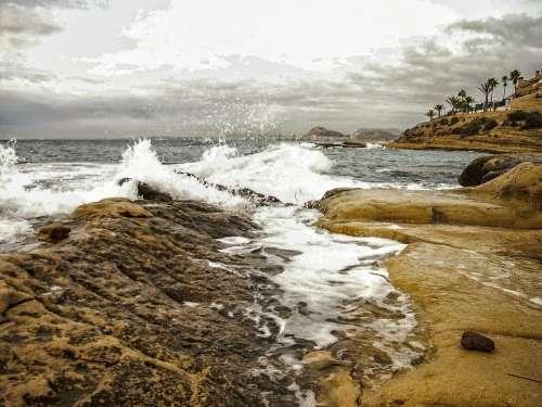 Waves Alicante After Orchards Mediterranean Sea