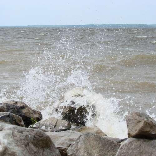 Waves Crashing Shore Water Nature Landscape