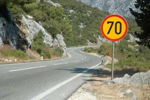 Way Mountaineering Limit Sign Highway Asphalt Hot