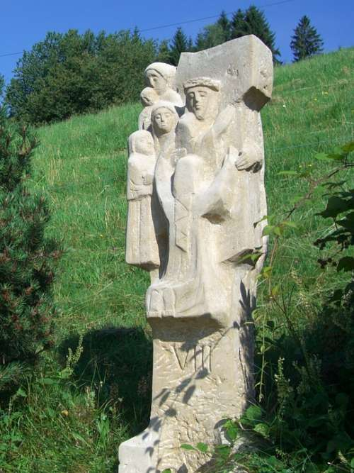 Way Of The Cross Station 8 Sculpture Stone Chiseled