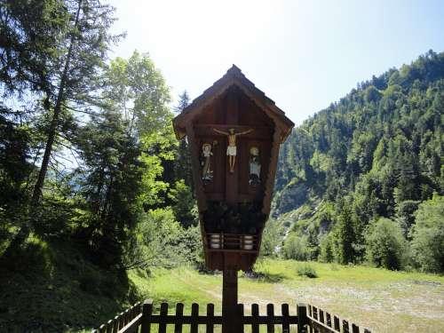 Wayside Cross Mountains Faith Catholicism Bavaria