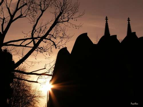 Weather Mood Backlighting Sun Silhouette City Dom