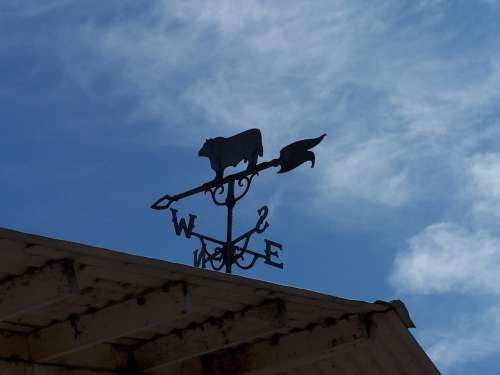 Weather Vane Sky Barn Wind Direction Blue East