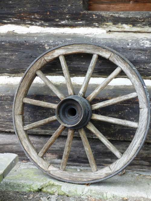 Wheel Village Rural Near The Car Car Wooden Wood