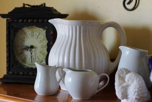 White Pottery Vase Pitchers Pitcher