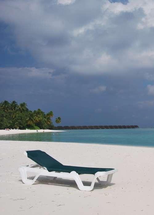White Sandy Beaches Blue Sky Palms Sun Loungers