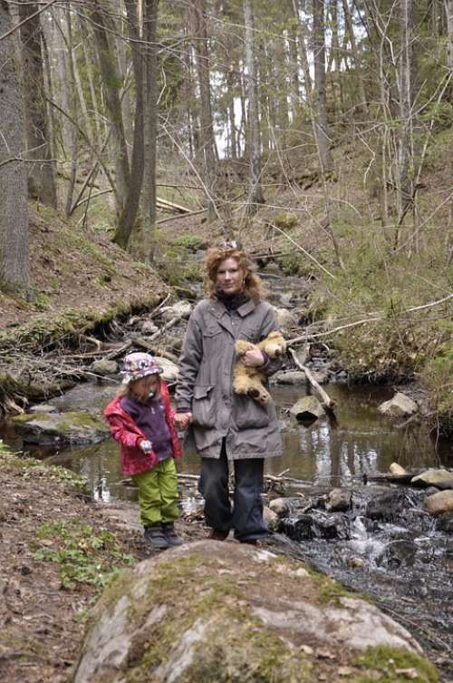 Wilderness Water Courses Mother Children Nature