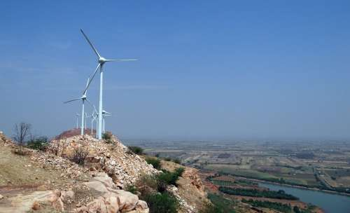 Wind Turbines Wind Power Nargund Hill Landscape