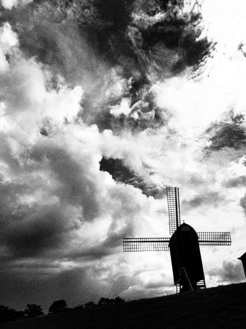 Wind Turbine Huis Ten Bosch Cloud Black And White