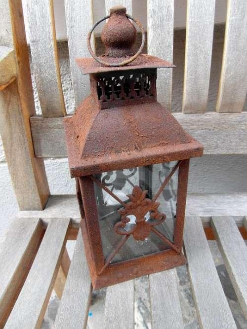 Windlight Lamp Weatherproof Decorated Iron