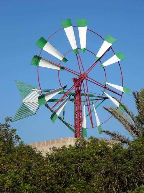 Windmill Mallorca Wheel Wind Landmark Wind Power