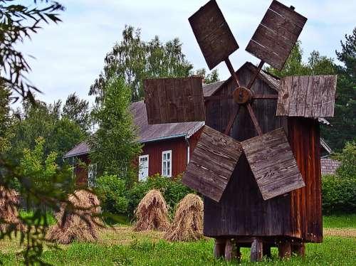 Windmill Harvest Corn House Wooden Wings Fan
