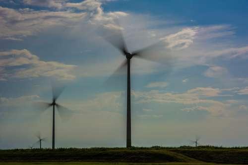 Windmill Sky Green Energie Wind Energy Blue