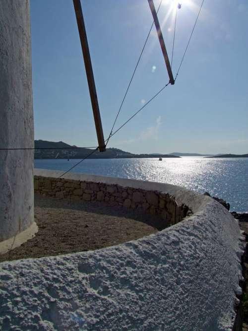 Windmill Sea Mykonos Greece Greek Island Cyclades