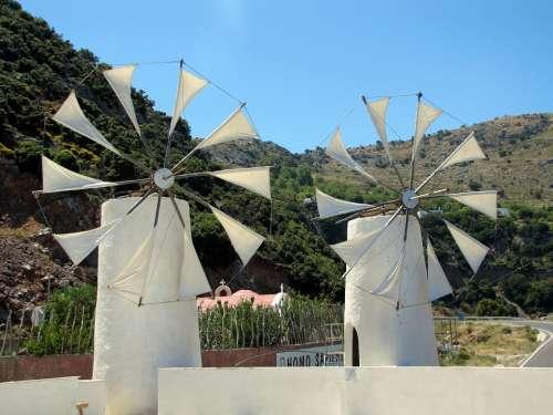 Windmills Island Of Crete Plateau Landscape
