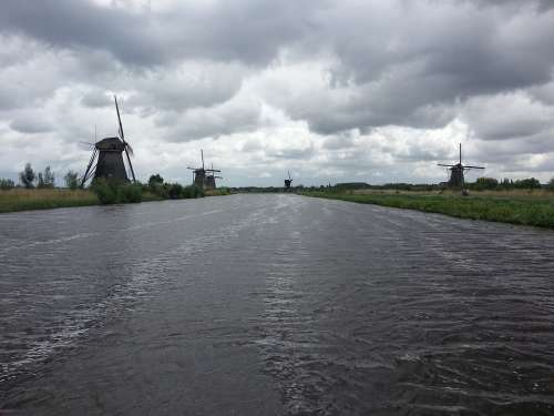 Windmills River Riverside Holland Netherlands
