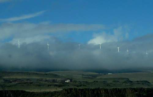Windmills Low Clouds Sky Hill Side