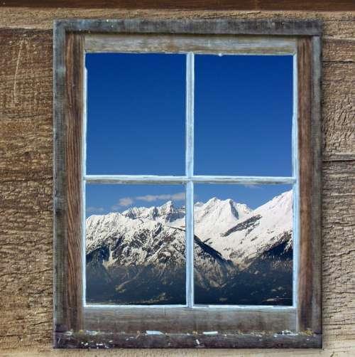 Window Old Hut Kahl Mountains Winter Landscape