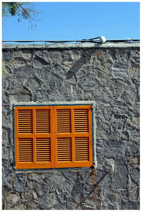 Window Yellow Window Frames Wood House Lamellar