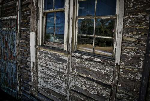 Window Tattered Peeling Paintwork Rustic Weathered