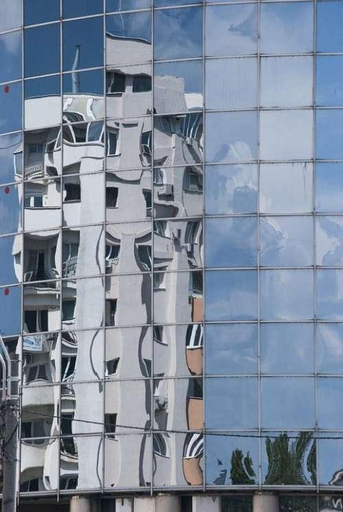 Windows Reflection Building Sky Clouds Urban