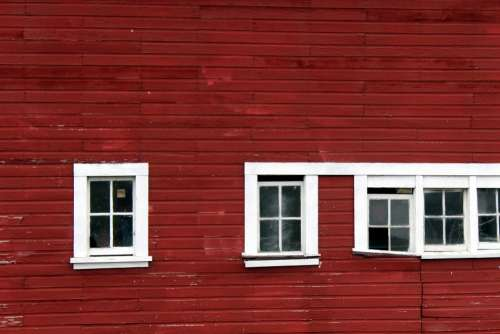 Windows Red Barn White Slats Siding Side