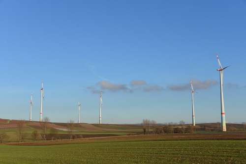 Windräder Energy Eco Energy Wind Power Sky Blue