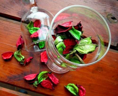 Wine Glasses Flower Day Bright Wooden Desk Petals