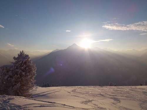 Winter Winterpanoram Alpine Mountains Sun Snow