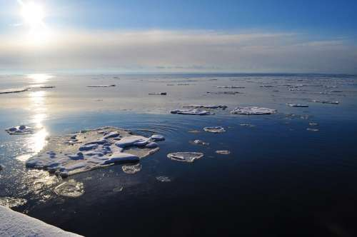 Winter Ice Landscape Floating Chunks Ocean Sun