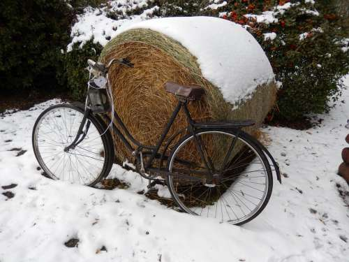 Winter Bike Snow Hay