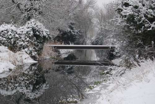 Winter Snow Season Nature Bridge Stream Cold