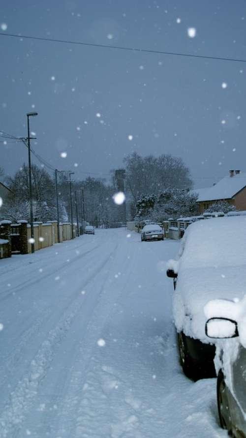 Winter Snow Flakes Urban Landscape Street Car