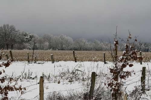Winter Landscape Pasture Fence Arable Field Snowy