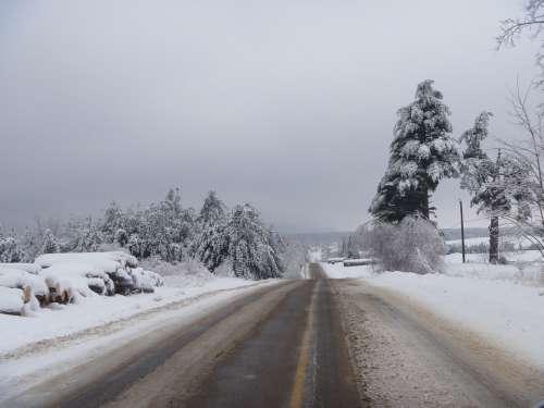 Winter Road Gadou Slush Snow Ice Cold Canada