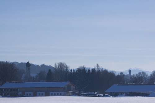 Winter Snow Trees Mountains Churches Baroque Blue