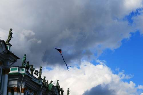 Winter Palace Sky Clouds Kite Flying