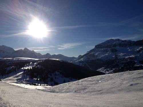 Wintry Ski Area Corvara Winter Mountains Alpine